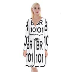 Brazil BR-101 Transcoastal Highway  Long Sleeve Velvet Front Wrap Dress