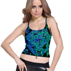 Blue And Green Tiles on black background Spaghetti Strap Bra Top