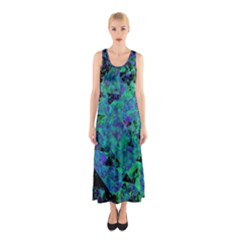 Blue And Green Tiles on black background Sleeveless Maxi Dress