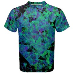 Blue And Green Tiles on black background Men s Cotton Tee