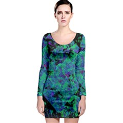 Blue And Green Tiles on black background Long Sleeve Bodycon Dress