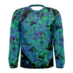 Blue And Green Tiles on black background Men s Long Sleeve Tee