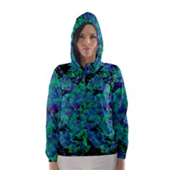 Blue And Green Tiles on black background Hooded Wind Breaker (Women)
