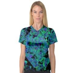 Blue And Green Tiles on black background Women s V-Neck Sport Mesh Tee