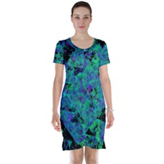 Blue And Green Tiles on black background Short Sleeve Nightdress