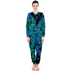 Blue And Green Tiles on black background OnePiece Jumpsuit (Ladies)