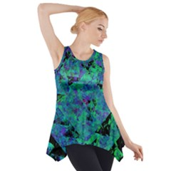 Blue And Green Tiles on black background Side Drop Tank Tunic