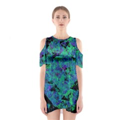 Blue And Green Tiles on black background Shoulder Cutout One Piece
