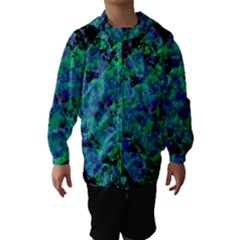 Blue And Green Tiles on black background Hooded Wind Breaker (Kids)