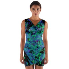 Blue And Green Tiles on black background Wrap Front Bodycon Dress