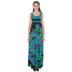 Blue And Green Tiles on black background Empire Waist Maxi Dress