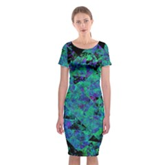 Blue And Green Tiles on black background Classic Short Sleeve Midi Dress