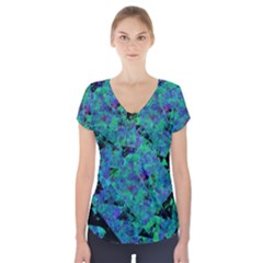 Blue And Green Tiles on black background Short Sleeve Front Detail Top