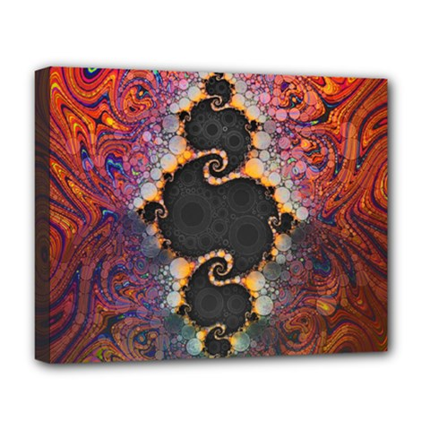 The Eye Of Julia, A Rainbow Fractal Paint Swirl Deluxe Canvas 20  x 16