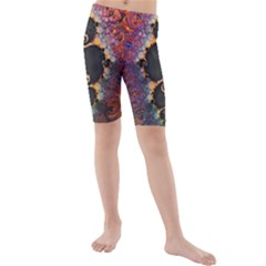 The Eye Of Julia, A Rainbow Fractal Paint Swirl Kids  Mid Length Swim Shorts