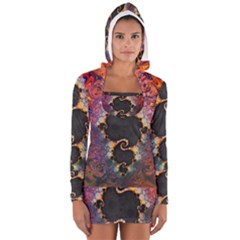 The Eye Of Julia, A Rainbow Fractal Paint Swirl Women s Long Sleeve Hooded T-shirt