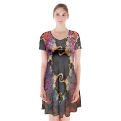 The Eye Of Julia, A Rainbow Fractal Paint Swirl Short Sleeve V-neck Flare Dress