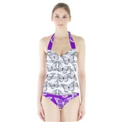 Gray & Purple Butterfly Pattern Halter Swimsuit