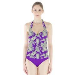 Purple Paisley Pattern Halter Swimsuit