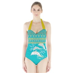 Teal Tribal & Dolphin Pattern Halter Swimsuit