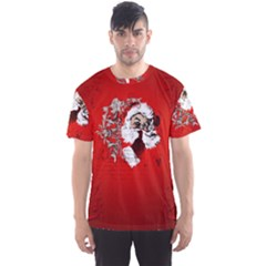 Funny Santa Claus  On Red Background Men s Sports Mesh Tee