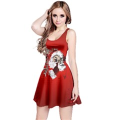 Funny Santa Claus  On Red Background Reversible Sleeveless Dress