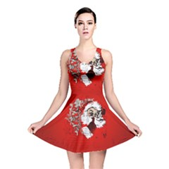 Funny Santa Claus  On Red Background Reversible Skater Dress
