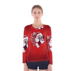 Funny Santa Claus  On Red Background Women s Long Sleeve Tee