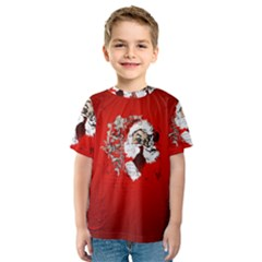 Funny Santa Claus  On Red Background Kids  Sport Mesh Tee