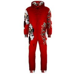 Funny Santa Claus  On Red Background Hooded Jumpsuit (Men)
