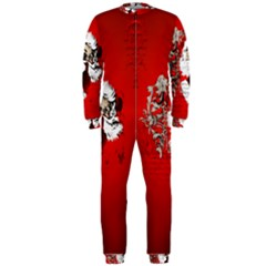 Funny Santa Claus  On Red Background OnePiece Jumpsuit (Men)