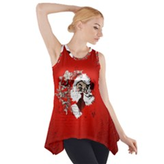 Funny Santa Claus  On Red Background Side Drop Tank Tunic