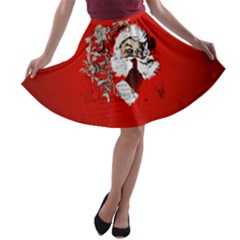 Funny Santa Claus  On Red Background A-line Skater Skirt