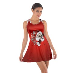 Funny Santa Claus  On Red Background Cotton Racerback Dress