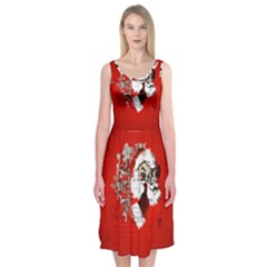 Funny Santa Claus  On Red Background Midi Sleeveless Dress