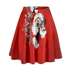 Funny Santa Claus  On Red Background High Waist Skirt