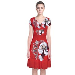 Funny Santa Claus  On Red Background Short Sleeve Front Wrap Dress
