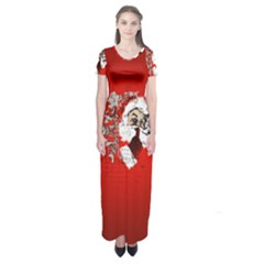 Funny Santa Claus  On Red Background Short Sleeve Maxi Dress