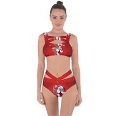 Funny Santa Claus  On Red Background Bandaged Up Bikini Set