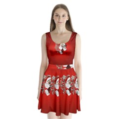 Funny Santa Claus  On Red Background Split Back Mini Dress