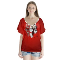 Funny Santa Claus  On Red Background Flutter Sleeve Top
