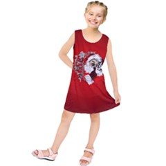 Funny Santa Claus  On Red Background Kids  Tunic Dress