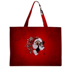 Funny Santa Claus  On Red Background Zipper Mini Tote Bag
