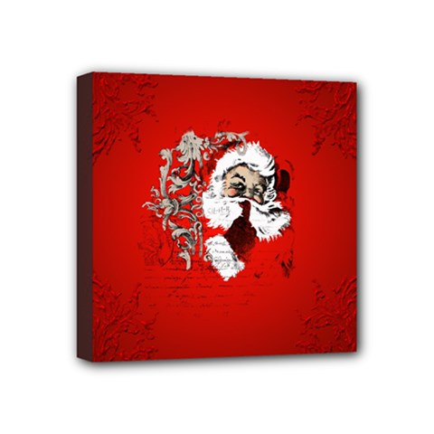 Funny Santa Claus  On Red Background Mini Canvas 4  x 4