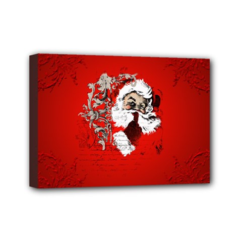 Funny Santa Claus  On Red Background Mini Canvas 7  x 5