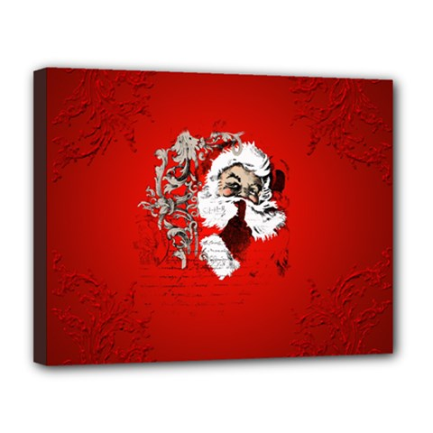 Funny Santa Claus  On Red Background Canvas 14  x 11
