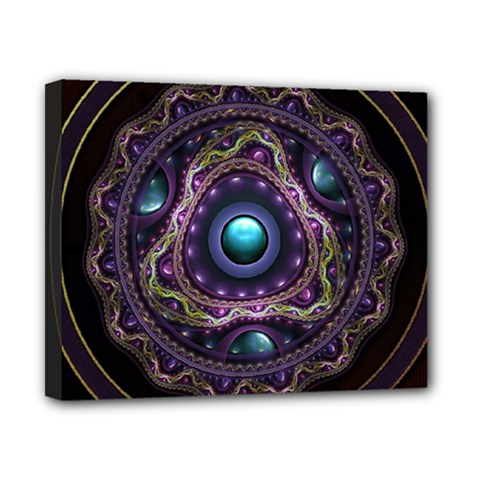 Beautiful Turquoise and Amethyst Fractal Jewelry Canvas 10  x 8