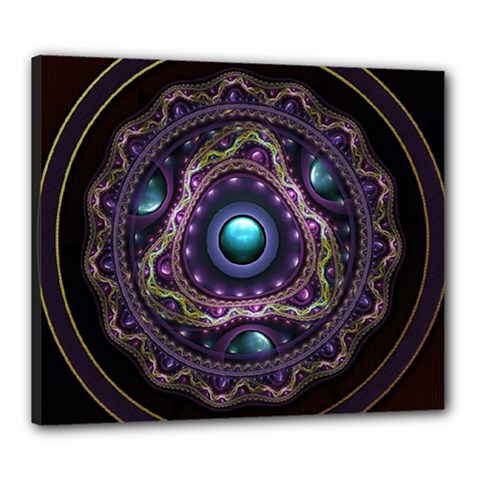 Beautiful Turquoise and Amethyst Fractal Jewelry Canvas 24  x 20