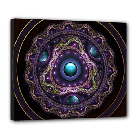 Beautiful Turquoise and Amethyst Fractal Jewelry Deluxe Canvas 24  x 20