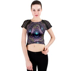 Beautiful Turquoise and Amethyst Fractal Jewelry Crew Neck Crop Top
